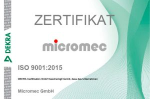 Micromec-Zertifikat-ISO 9001:2015